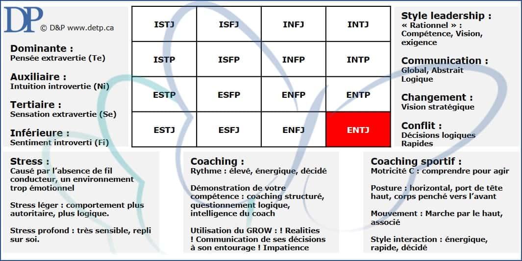 Les caractéristiques de l'ENTJ